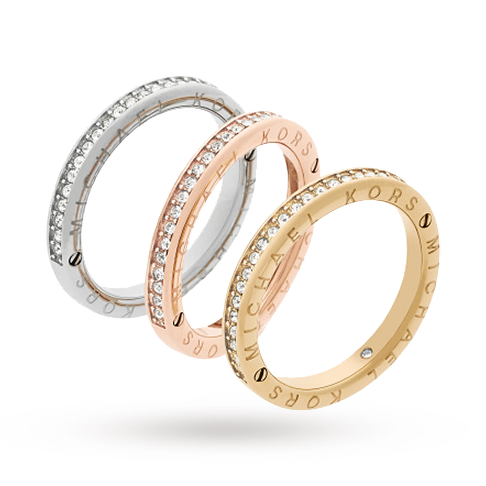 Michael Kors Three Coloured Stacking Ring Size L 5 Micheal Wedding